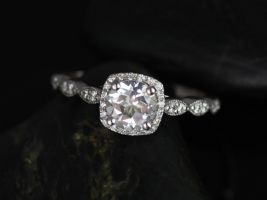 Rosados Box Christie 6mm 14kt White Gold Round White Topaz and Diamond Cushion Halo WITH Milgrain Engagement Ring