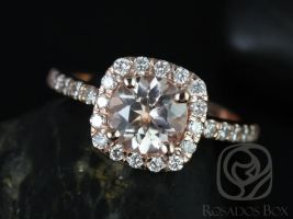 Rosados Box Colbie 7mm 14kt Rose Gold Morganite and Diamond Cushion Halo Engagement Ring