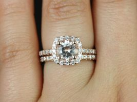 Rosados Box Colbie 7mm 14kt Rose Gold Round Morganite and Diamond Cushion Halo Classic Wedding Set