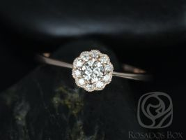 Rosados Box Conflict Free Magnolia 14kt Rose Gold Diamond Flower Cluster WITH Milgrain Beading Engagement Ring