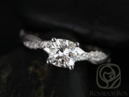 Rosados Box Tressa 6mm 14kt White Gold Cushion F1- Moissanite and Diamond Twist Engagement Ring