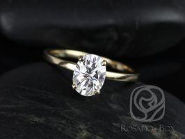 Rosados Box Dakota 8x6mm 14kt Yellow Gold Oval F1- Moissanite Thin Skinny Engagement Ring