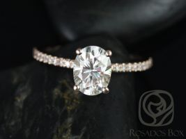 Rosados Box Darcy 8x6mm 14kt Rose Gold Oval F1- Moissanite and Diamonds Classic Engagement Ring