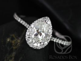 Rosados Box Tabitha 8x5mm 14kt White Gold Pear F1- Moissanite and Diamonds Halo Engagement Ring