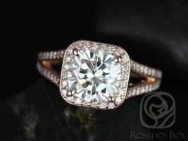 Rosados Box Diana 8mm 14kt Rose Gold Cushion F1- Moissanite and Diamonds Halo Split Shank Engagement Ring
