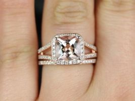 Rosados Box Diana 8mm Rose Gold Cushion Morganite and Diamonds Halo Split Shank Wedding Set