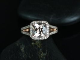 Rosados Box Diana 8mm 14kt Rose Gold Cushion Morganite and Diamonds Halo Split Shank Engagement Ring
