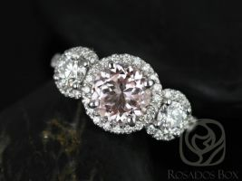 Rosados Box Dita 7mm 14kt White Gold Round Morganite, F1- Moissanite, Diamonds 3 Stone Engagement Ring