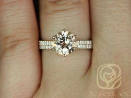 Rosados Box Dora 8mm 14kt Rose Gold Round Morganite and Diamonds Cathedral Webbed 6 Prong Classic Wedding Set