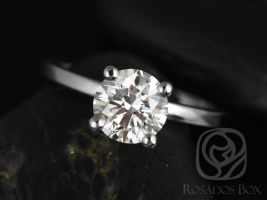 Rosados Box Ella 7mm White Gold Round F1- Moissanite Tulip Solitaire Engagement Ring