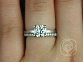 Rosadso Box Ella 7mm & Cara 14kt White Gold Round F1- Moissanite and Diamonds Wedding Set