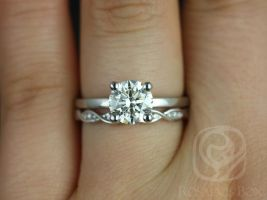 Rosados Box Ella 7mm & Ember 14kt White Gold Round F1- Moissanite and Diamonds Wedding Set