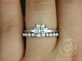 Rosados Box Ella 7mm & Petite Naomi 14kt White Gold Round F1- Moissanite and Diamonds Wedding Set