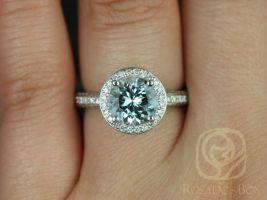Rosados Box Ellen 8mm 14kt White Gold Round Aquamarine and Diamonds Pave Halo Engagement Ring
