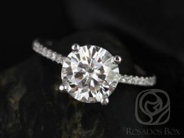 Rosados Box Eloise 8mm 14kt White Gold Round F1- Moissanite and Diamonds Cathedral Engagement Ring