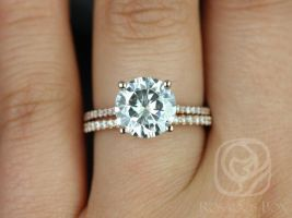 Rosados Box Eloise 9mm 14kt Rose Gold Round F1- Moissanite and Diamonds Cathedral Wedding Set