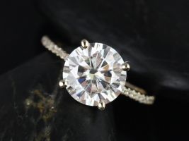 Rosados Box Eloise 9mm Yellow Gold Round F1- Moissanite and Diamonds Cathedral Engagement Ring