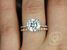 Rosados Box Eloise 9mm & Ultra Petite Bead Eye 14kt Rose Round F1- Moissanite and Diamonds Cathedral Wedding Set