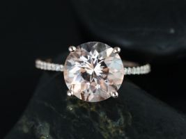 Rosados Box Eloise 10mm 14kt Rose Gold Round Morganite and Diamond Cathedral Engagement Ring