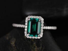 Rosados Box Esmeralda 8x6mm 14kt White Gold Rectangle Emerald and Diamond Halo Engagement Ring