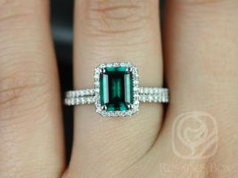 Rosados Box Esmeralda 8x6mm 14kt White Gold Rectangle Emerald and Diamonds Halo Wedding Set