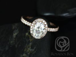 Rosados Box EXTRA LOW Chantelle 8x6mm 14kt Rose Gold Oval F1- Moissanite and Diamond Halo Engagement Ring