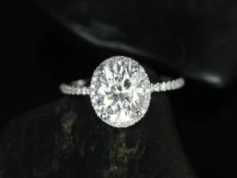 Rosados Box Federella 10x8mm 14kt White Gold Oval F1- Moissanite and Diamond Halo Engagement Ring