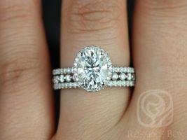 Rosados Box Federella 9x7mm & Petite Naomi 14kt White Gold Oval F1- Moissanite and Diamond Halo TRIO Wedding Set