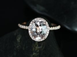 Rosados Box Federella 10x8mm 14kt Rose Gold Thin Oval Morganite and Diamonds Halo Engagement Ring