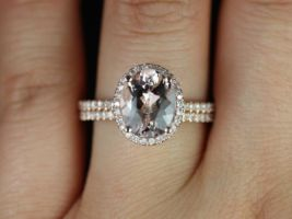 Rosados Box Federella 10x8mm 14kt Rose Gold Oval Morganite and Diamonds Halo Classic Wedding Set