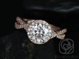 Rosados Box Gabi 7mm 14kt Rose Gold Round F1- Moissanite & Diamond Twist Halo Engagement Ring