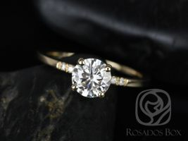 Rosados Box Gigi 6.5mm 14kt Yellow Gold Round F1- Moissanite and Diamonds Short-Stop Classic Non-Cathedral Engagement Ring
