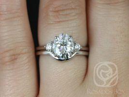 Rosados Box Gloria 9x7mm 14kt White Gold Oval F1- Moissanite and Diamonds 3 Stone Classic Wedding Set