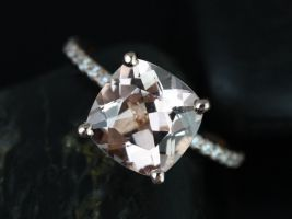 Rosados Box Heidi 9mm 14kt Rose Gold Cushion Morganite and Diamond Basket Engagement Ring