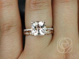 Rosados Box Heidi 9mm & Ember 14kt Rose Gold Cushion Morganite and Diamond Wedding Set