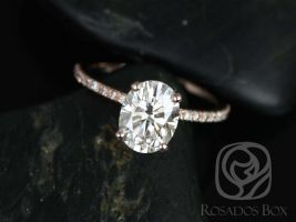 Rosados Box Hillary 14kt Rose Gold Moissanite Oval Engagement Ring w/ Diamond 9x7mm