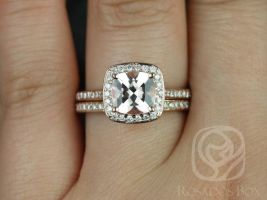 Rosados Box Hollie 8mm 14kt Rose Gold Cushion Morganite and Diamonds Pave Halo Wedding Set