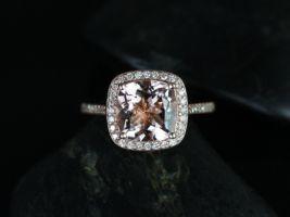Rosados Box Hollie 9mm 14kt Rose Gold Cushion Morganite and Diamonds Halo Engagement Ring