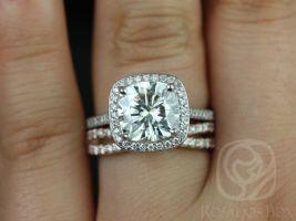Rosados Box Hollie 9mm and Lima 14kt White & Rose Gold Cushion F1- Moissanite and Diamonds Halo Wedding Set