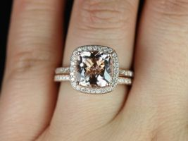 Rosados Box Hollie 9mm 14kt Rose Gold Cushion Morganite and Diamonds Halo Classic Wedding Set