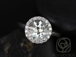 Rosados Box Ready to Ship Monique 8mm 14kt White Gold Round Green Amethyst Plain Shank Halo Engagement Ring