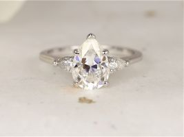 Rosados Box 2cts Essie 10x7mm 14kt White Gold Forever One Moissanite Diamond Minimalist 3 Stone Dainty Pear  Engagement Ring