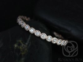 Rosados Box Ready to Ship Petite Bubbles 14kt Rose Gold WITH Hand Milgrain Beading Diamond FULL Eternity Band