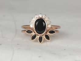 Rosados Box Oksana 8x6mm & Petunia 14kt Rose Gold Oval Black Onyx and Diamonds Bezel Crescent Sunrays Wedding Set