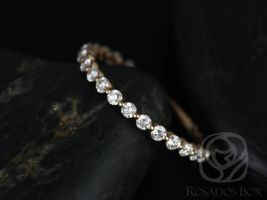 Ready to Ship Petite Naomi/Petite Bubble & Breathe 14kt YELLOW Gold Diamond Single Prong Floating ALMOST Eternity Band Ring,Rosados Box