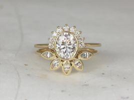 Rosados Box Oksana 8x6mm & Petunia 14kt Yellow Gold Oval F1- Moissanite Diamond White Sapphire Bezel Crescent Sunrays Wedding Set