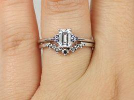 Rosados Box Jada 6x4mm & Remy 14kt White Gold White Blue Diamonds Dainty Emerald Cluster 3 Stone Wedding Set Rings