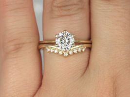 Rosados Box 1ct Skinny Webster & Lonnie 14kt Solid Gold Round Forever One Moissanite Diamond Dainty 6 Prong Solitaire Wedding Set Rings