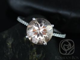 Ready to Ship Eloise 10mm 14kt YELLOW Gold Morganite Diamonds Dainty Thin Cathedral Round Solitaire Accent Engagement Ring,Rosados Box