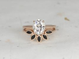 Rosados Box Delia 9x7mm & Petunia 14kt Rose Gold Oval Forever One  Moissanite and Onyx Low Thin Skinny Wedding Set